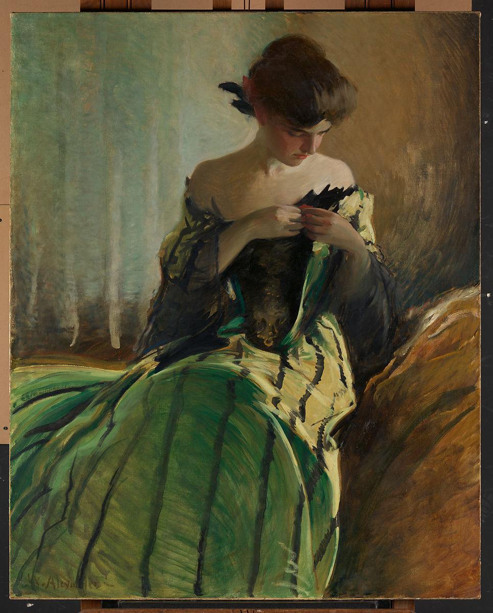 Study in Black and Green, John White Alexander (American, Allegheny, Pennsylvania 1856–1915 New York), Oil on canvas, American