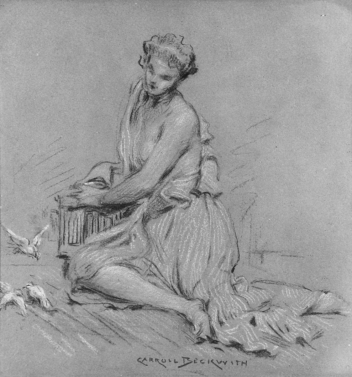 J. Carroll Beckwith | Seated Woman with Birds | American | The Met