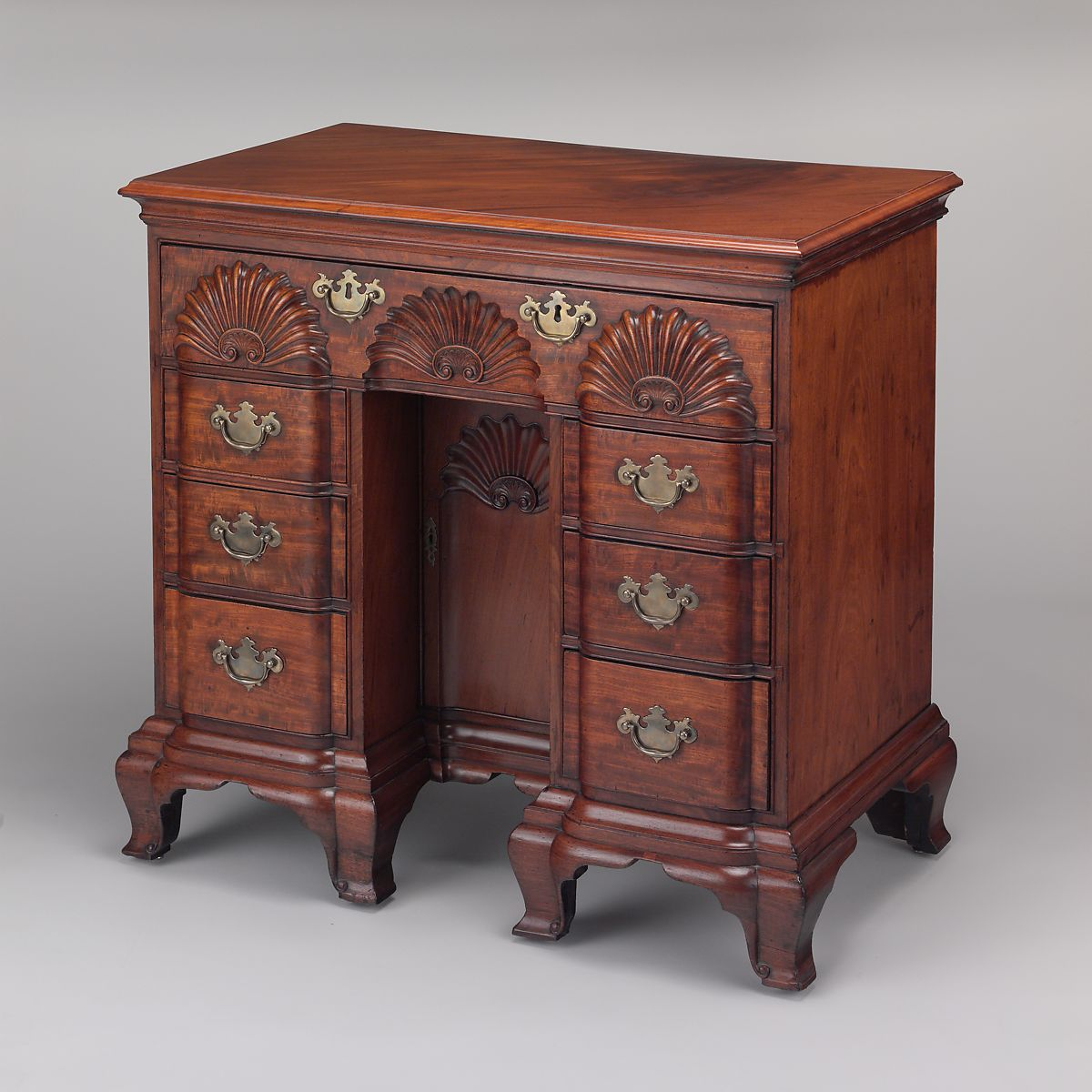 Bureau table, Attributed to John Townsend (1732–1809), Mahogany, chestnut, tulip poplar, American