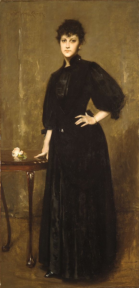 Lady in Black, William Merritt Chase (American, Williamsburg, Indiana 1849–1916 New York), Oil on canvas, American