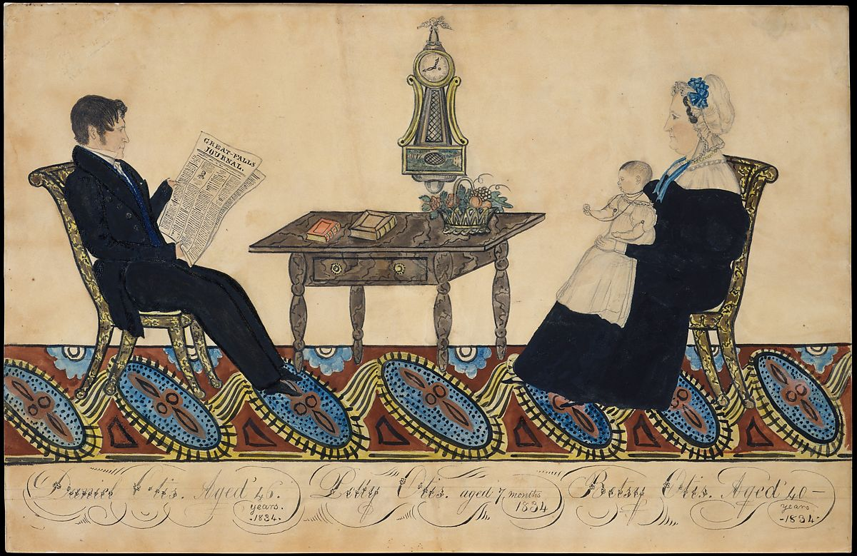 Mr. and Mrs. Daniel Otis and Child, Joseph H. Davis (1811–1865), Watercolor, gum arabic, and graphite on off-white wove paper, American