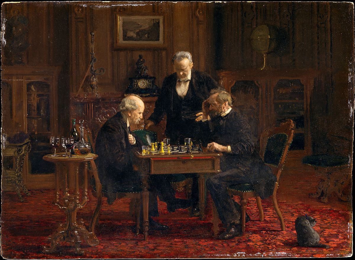 The Chess Players, Thomas Eakins (American, Philadelphia, Pennsylvania 1844–1916 Philadelphia, Pennsylvania), Oil on wood, American