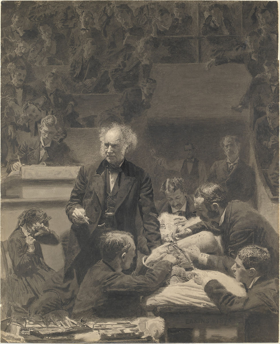 Gross Clinic, Thomas Eakins (American, Philadelphia, Pennsylvania 1844–1916 Philadelphia, Pennsylvania), India ink and watercolor on cardboard, American