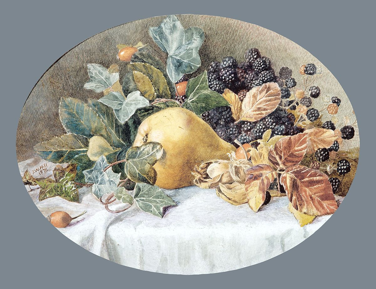 Still Life with Fruit, Attributed to John William Hill (American (born England), London 1812–1879 West Nyack, New York), Watercolor and gouache on off-white laminated paper board (possibly Bristol board), American