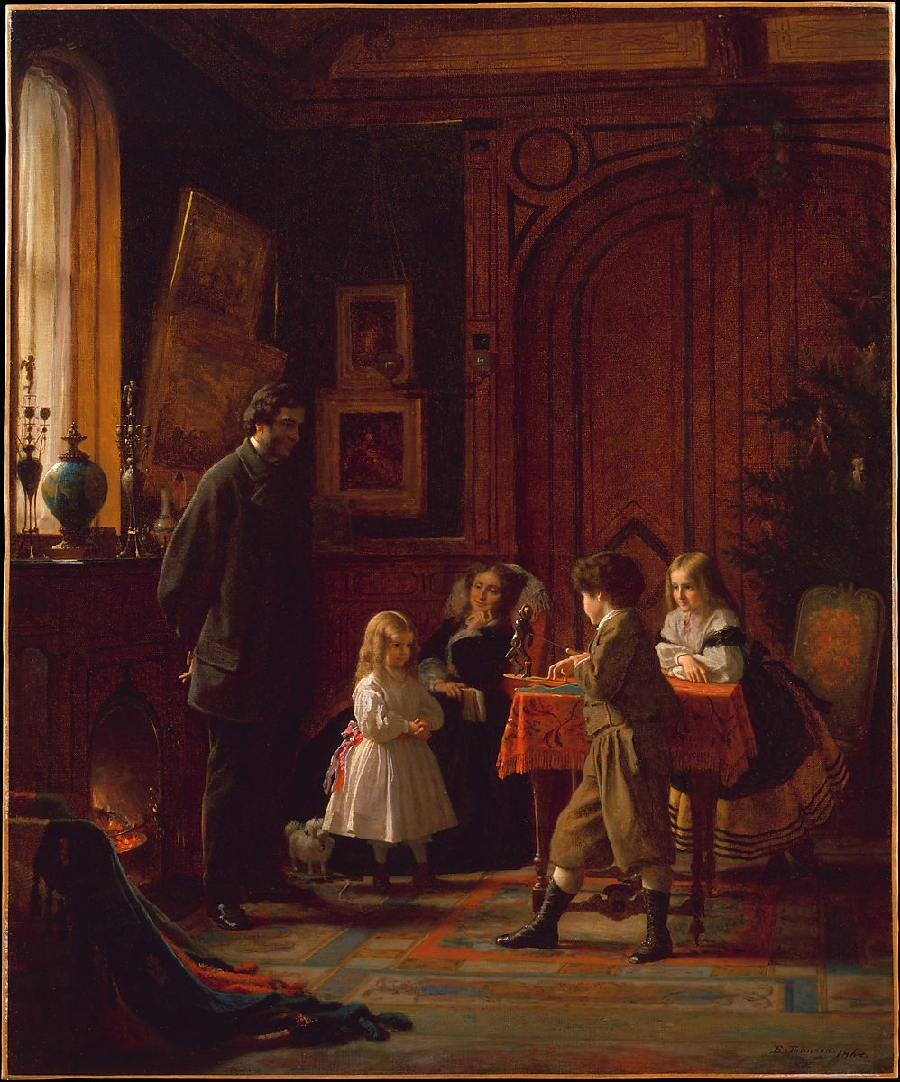 Christmas-Time, The Blodgett Family, Eastman Johnson (American, Lovell, Maine 1824–1906 New York), Oil on canvas, American