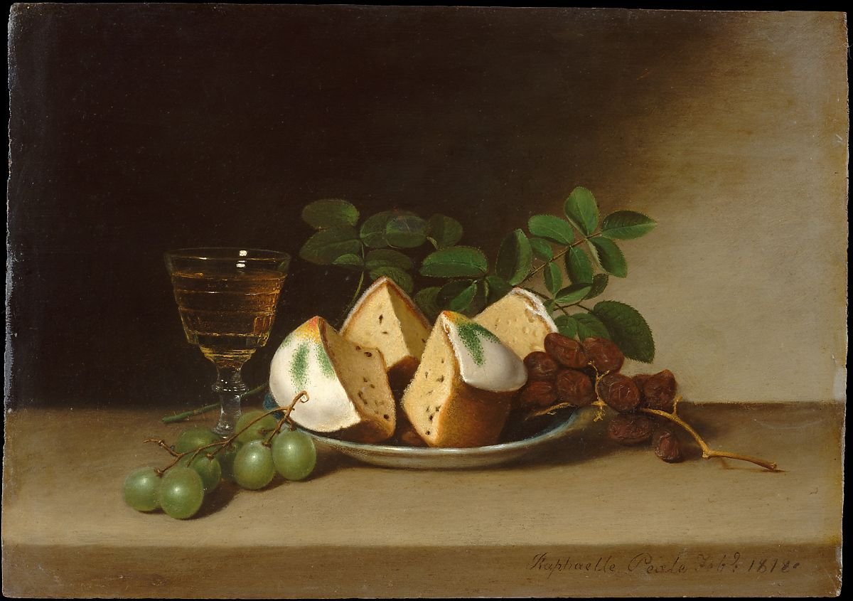 Still Life with Cake, Raphaelle Peale (1774–1825), Oil on wood, American