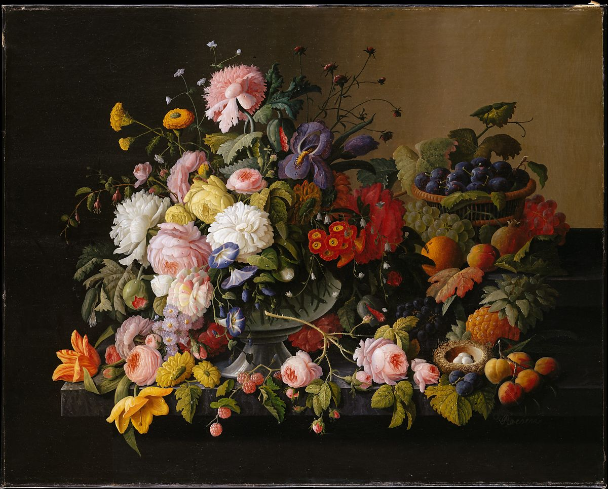 Still Life Flowers And Fruit Severin Roesen American Born Prussia