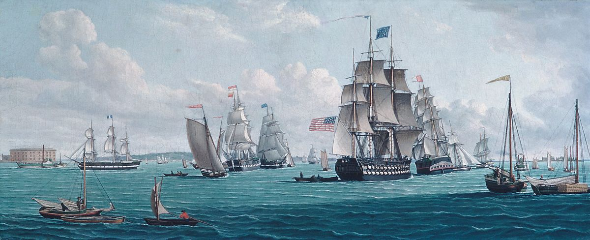 The U. S. Ship Franklin, with a View of the Bay of New York, Thomas Thompson (1775–1852), Oil on canvas, American