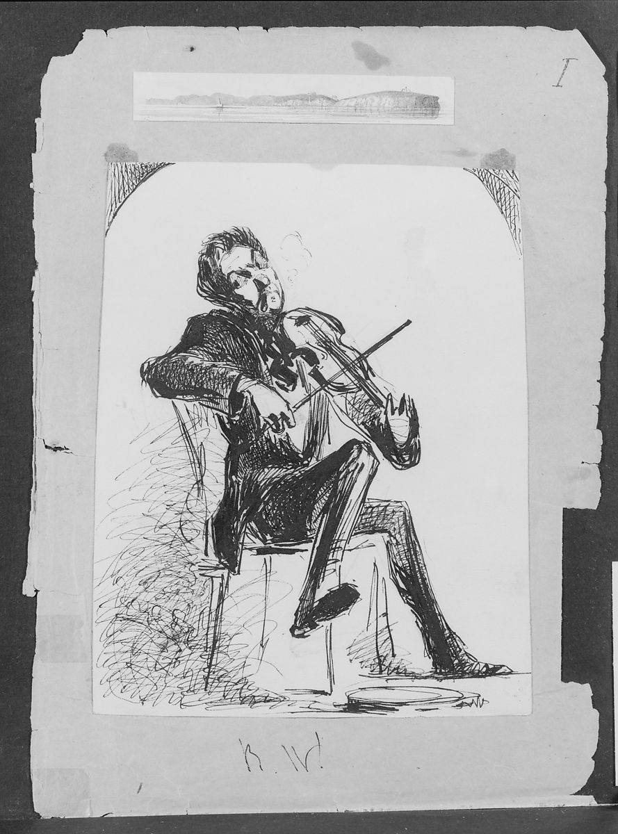 Ross Winans Playing Violin (from Sketchbook), James McNeill Whistler (American, Lowell, Massachusetts 1834–1903 London), Black ink and graphite on off-white wove paper, American