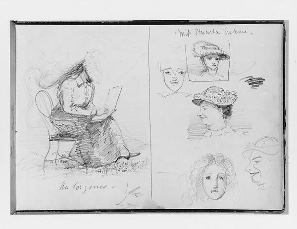 John Singer Sargent | Woman Sketching, Various Portrait Studies (from Switzerland 1870 Sketchbook) | American | The Met