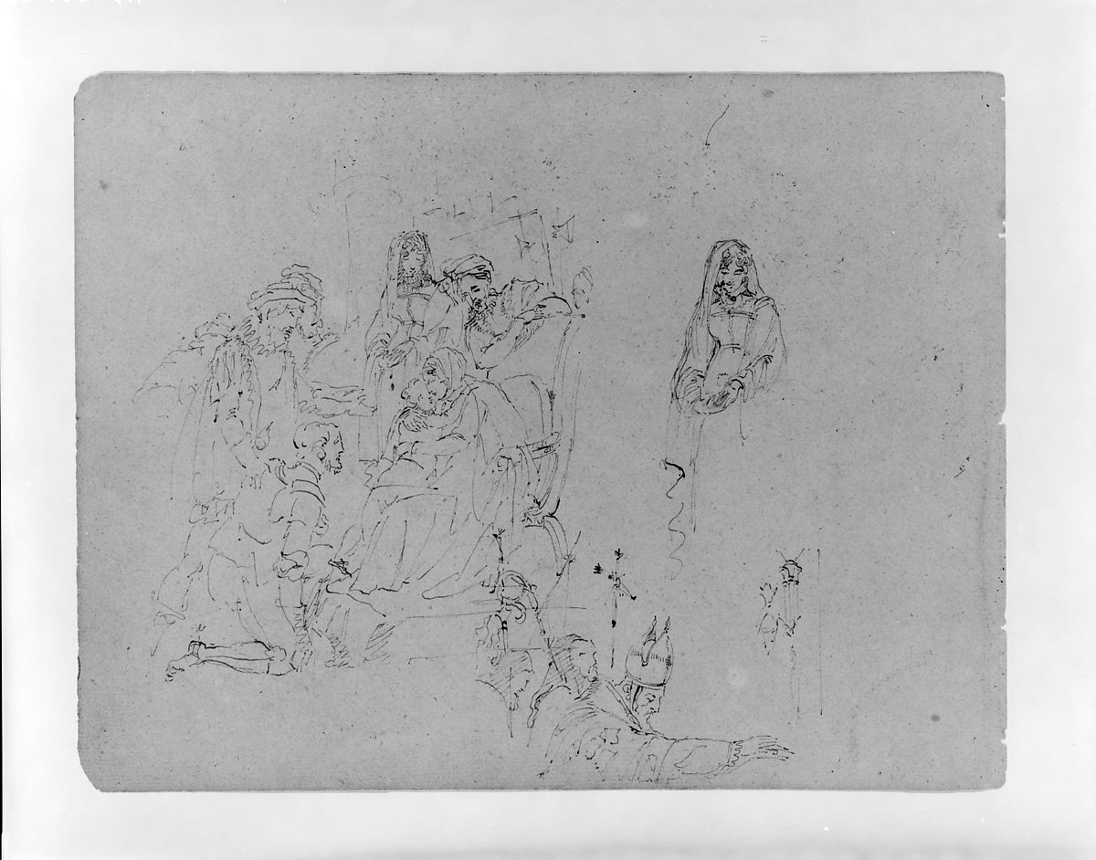 Thomas Sully | Composition Sketch for an Adoration of the Magi [?] and A Bishop Blessing [Marriage at Bolsena?] (from Sketchbook) | American | The Met