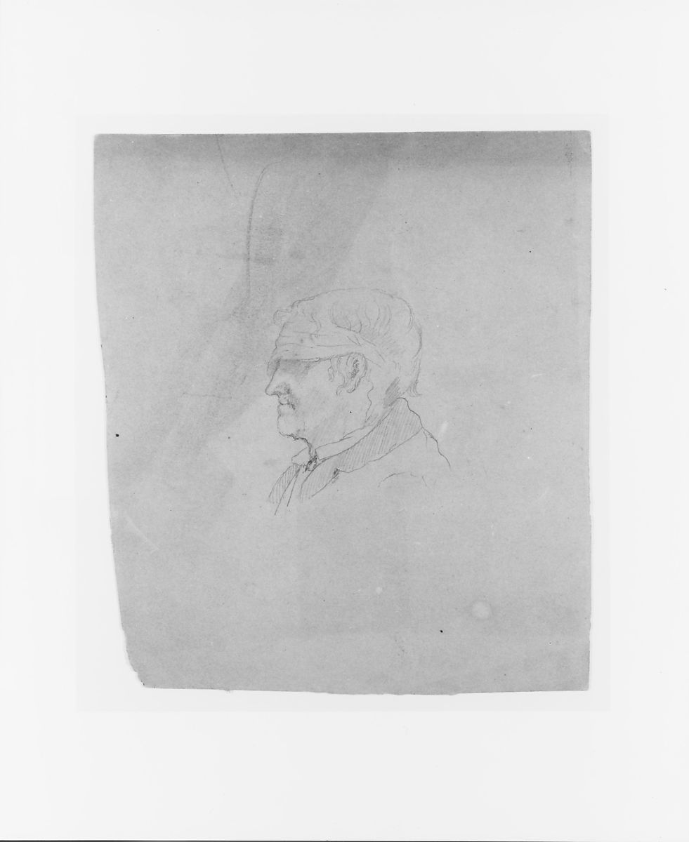 Profile Sketch of a Blindfolded Man (from Sketchbook), John Quincy Adams Ward (American, Urbana, Ohio 1830–1910 New York), Graphite on paper, American