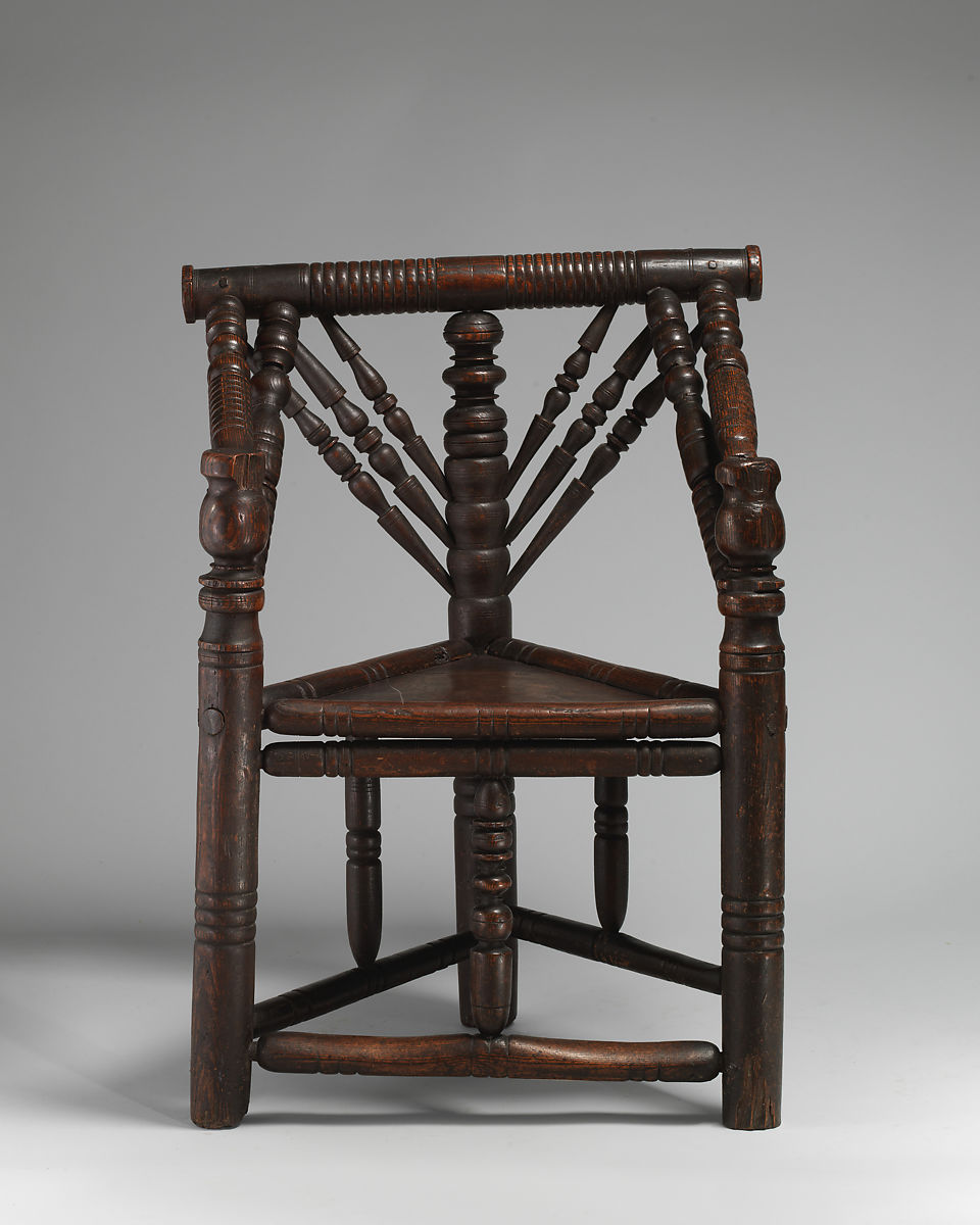 Three-legged chair, Ash with oak seat, British - Three-legged Chair British The Met