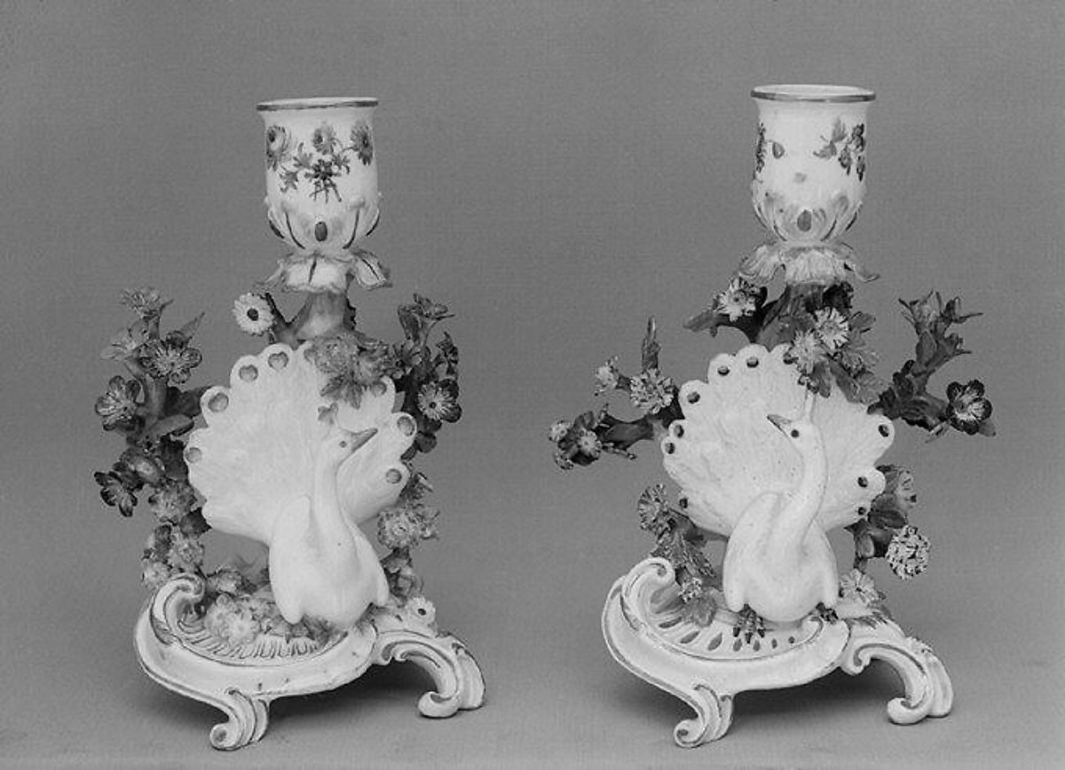 Candlestick (one of a pair), Meissen Manufactory (German, 1710–present), Hard-paste porcelain, German, Meissen