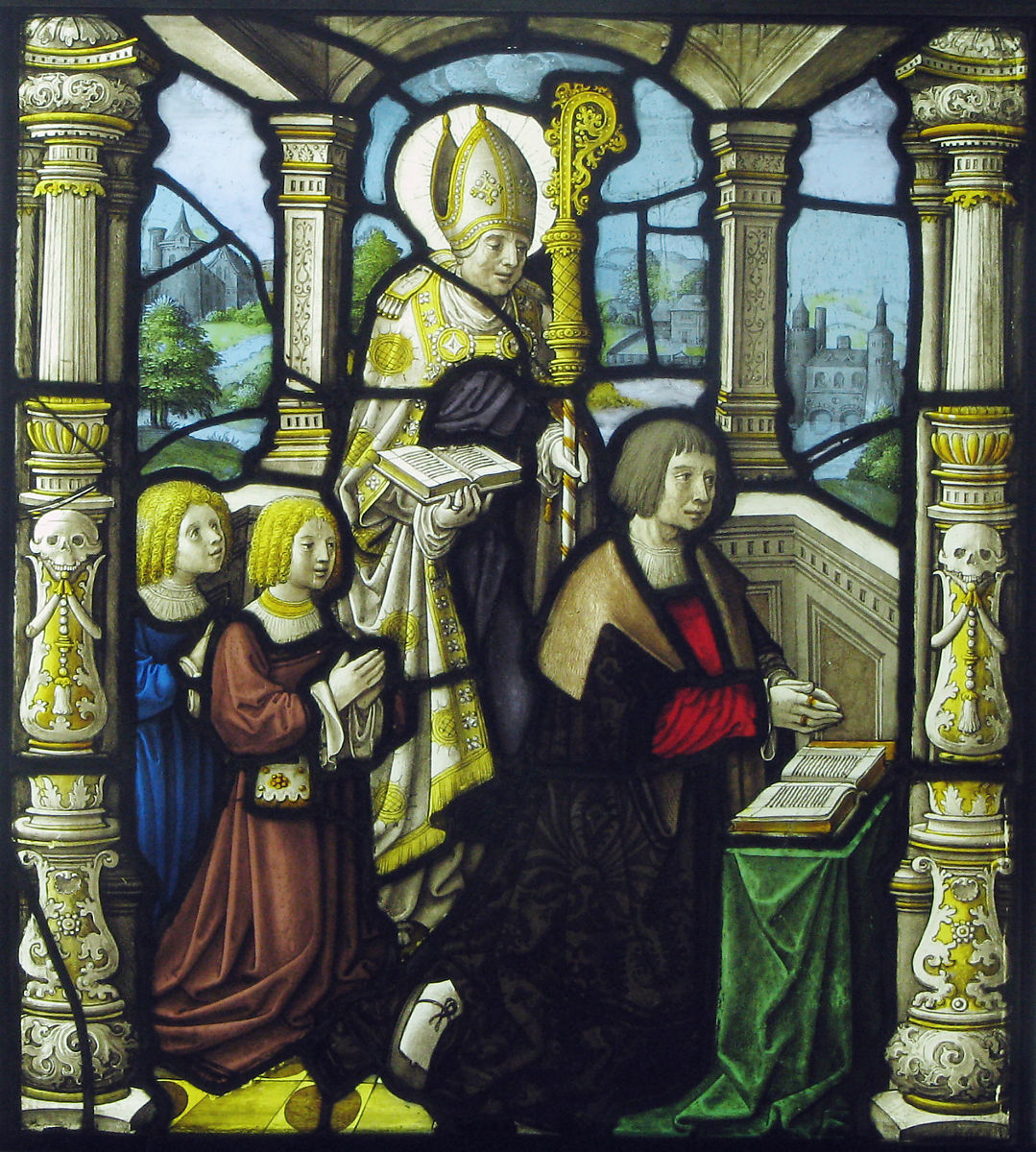 A donor and his sons protected by his patron, a bishop | Flemish | The Met