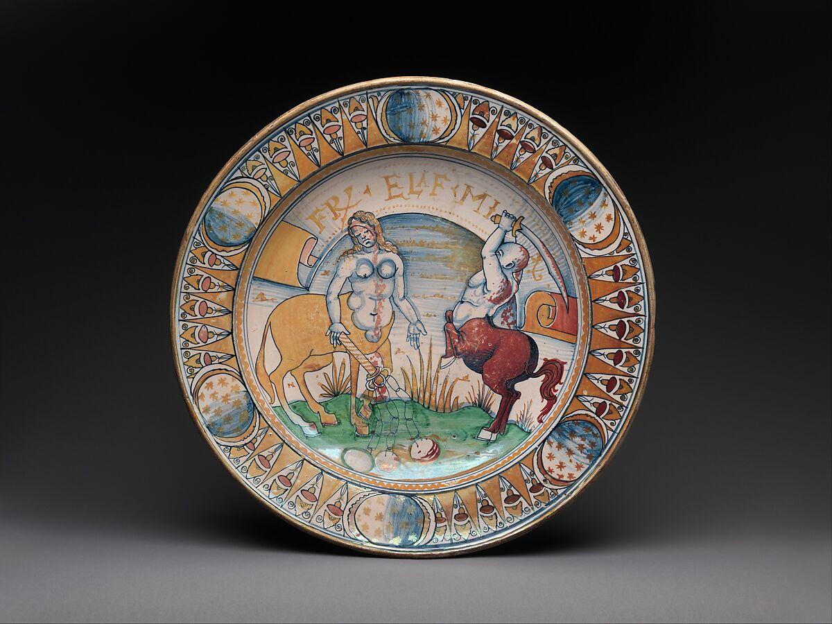 Dish with centaur and centauress battling | Italian, Deruta or Gubbio | The Met