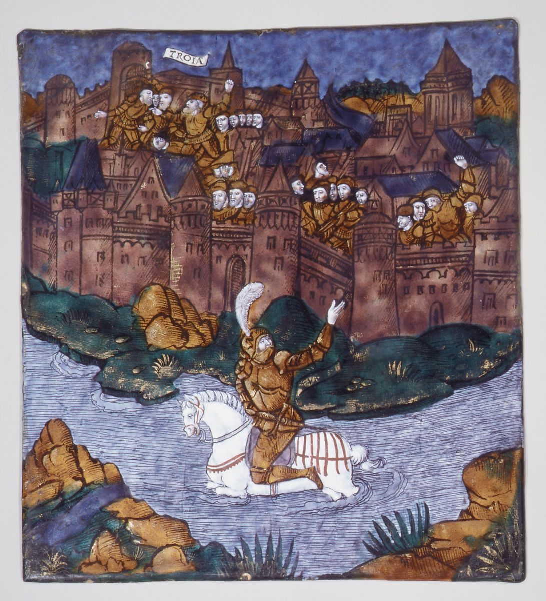 Master of the Aeneid | Turnus, Overwhelmed by the Trojans, Crosses the River to Return to His Companions (Aeneid, Book IX) | French, Limoges | The Met