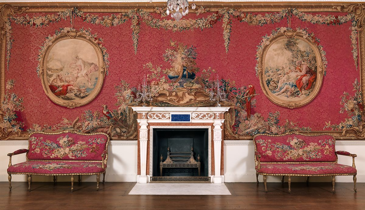 Chimneypiece from the Tapestry Room from Croome Court, Lapis lazuli tablet provided by Joseph Wilton (British, London 1722–1803 London), Marble, lapis lazuli, British