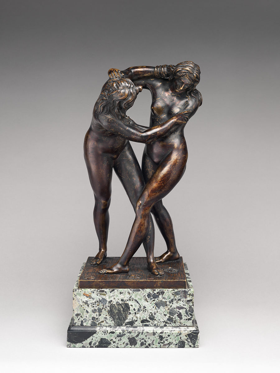Two Women Wrestling, Attributed to Ferdinando Tacca (Italian, Florence 1619–1686 Florence), Bronze, Italian, Florence