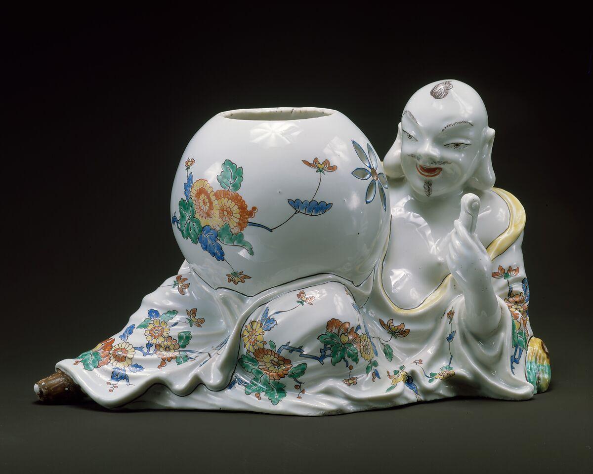 Oriental with Potpourri Jar, Tin-glazed soft-paste porcelain, French, Chantilly