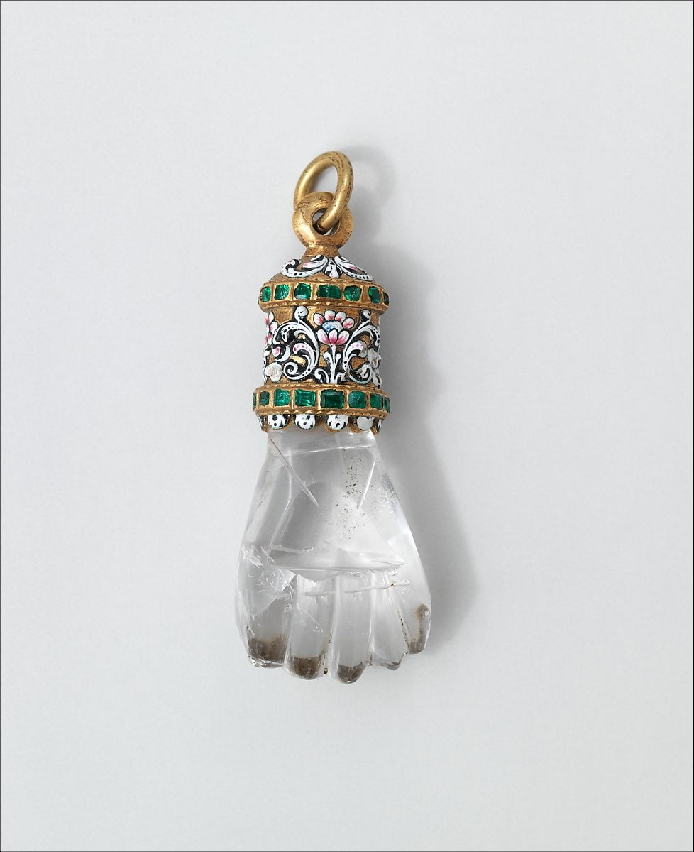 Pendant in the form of a hand, Rock crystal, with enameled gold mount set with emeralds, possibly Spanish