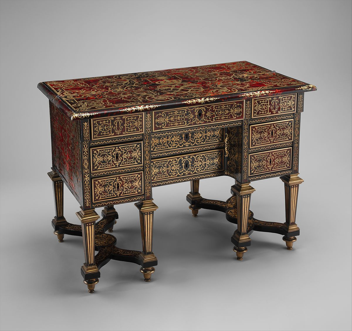 Marquetry By Alexandre Jean Oppenordt Small Desk With Folding Top