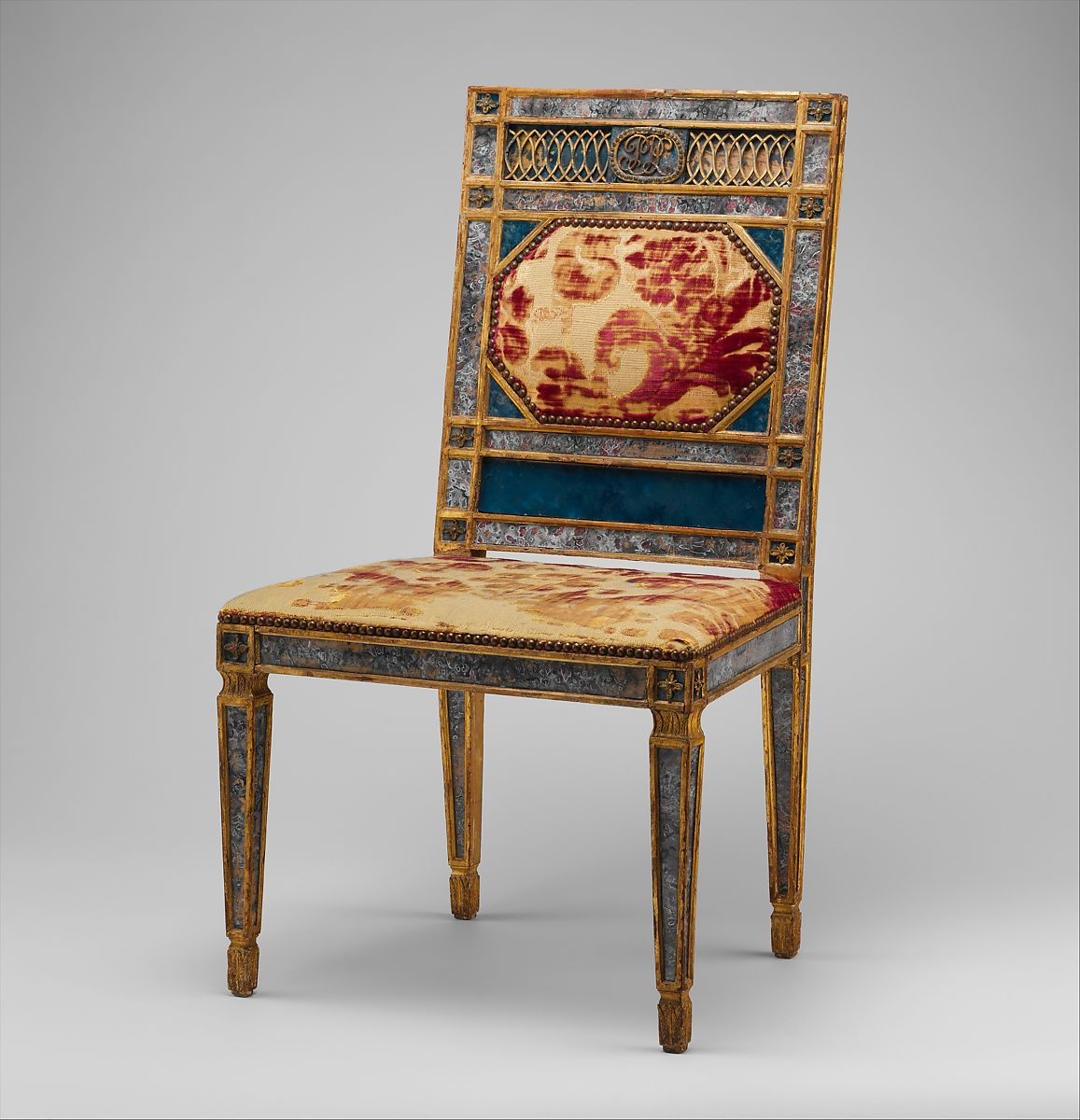 Side Chair (part Of A Set), Carved, Gilded And Painted Walnut,
