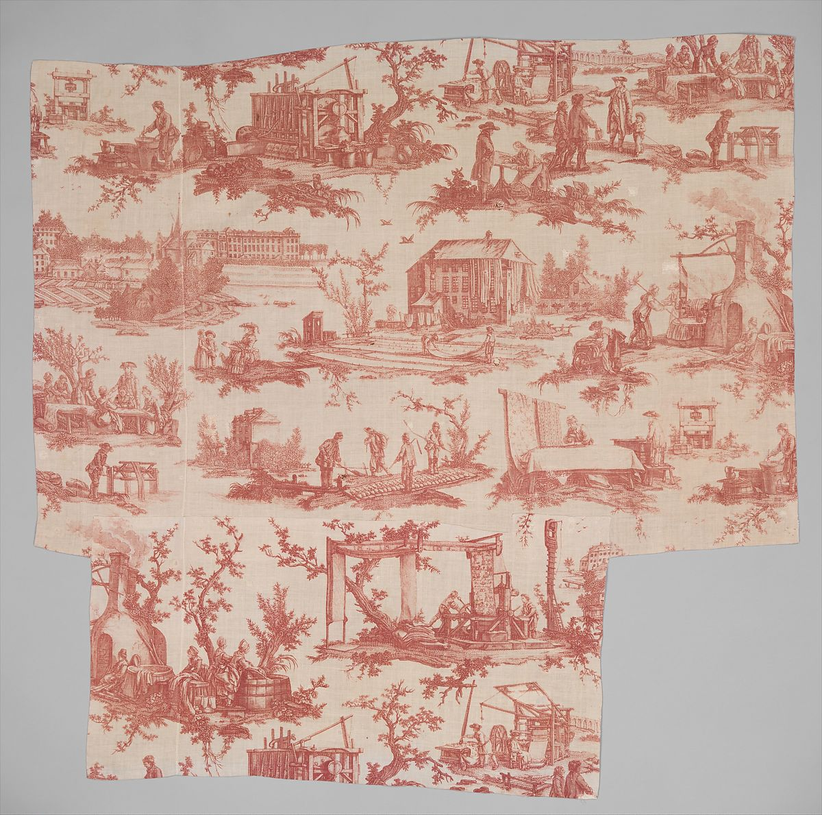 """Les Travaux de la Manufacture"", Oberkampf Manufactory (French, active 1760–1843), Linen, French, Jouy-en-Josas"