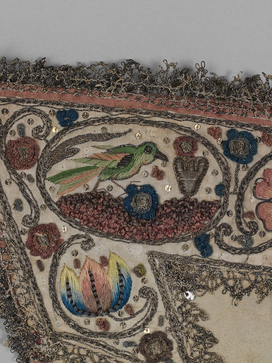 Example of 1500s polychrome embroidery