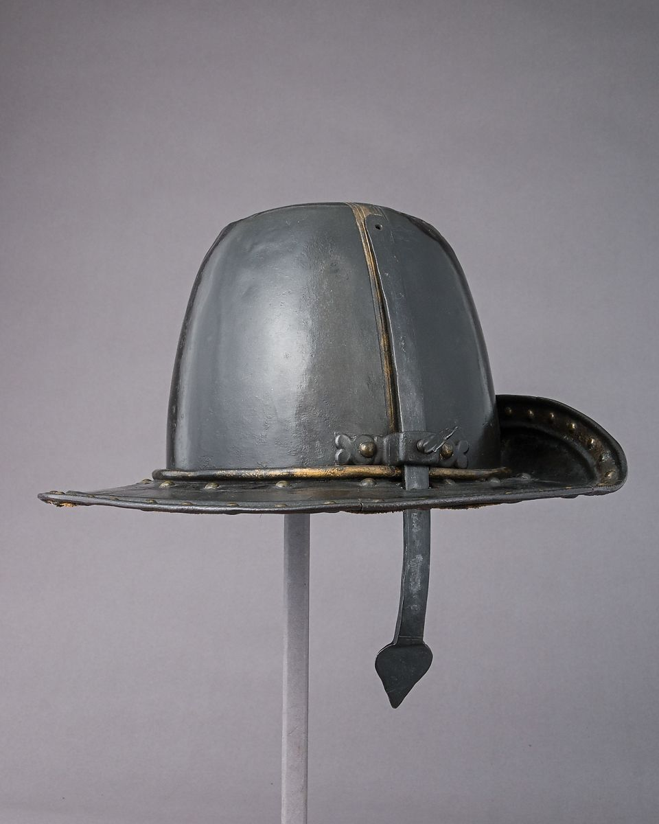 Helmet in the Shape of a Cavalier's Hat, Steel, gold, textile, probably British