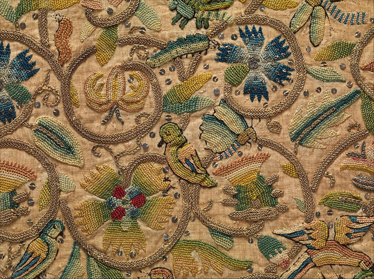 Example of 1500s Elizabethan embroidery