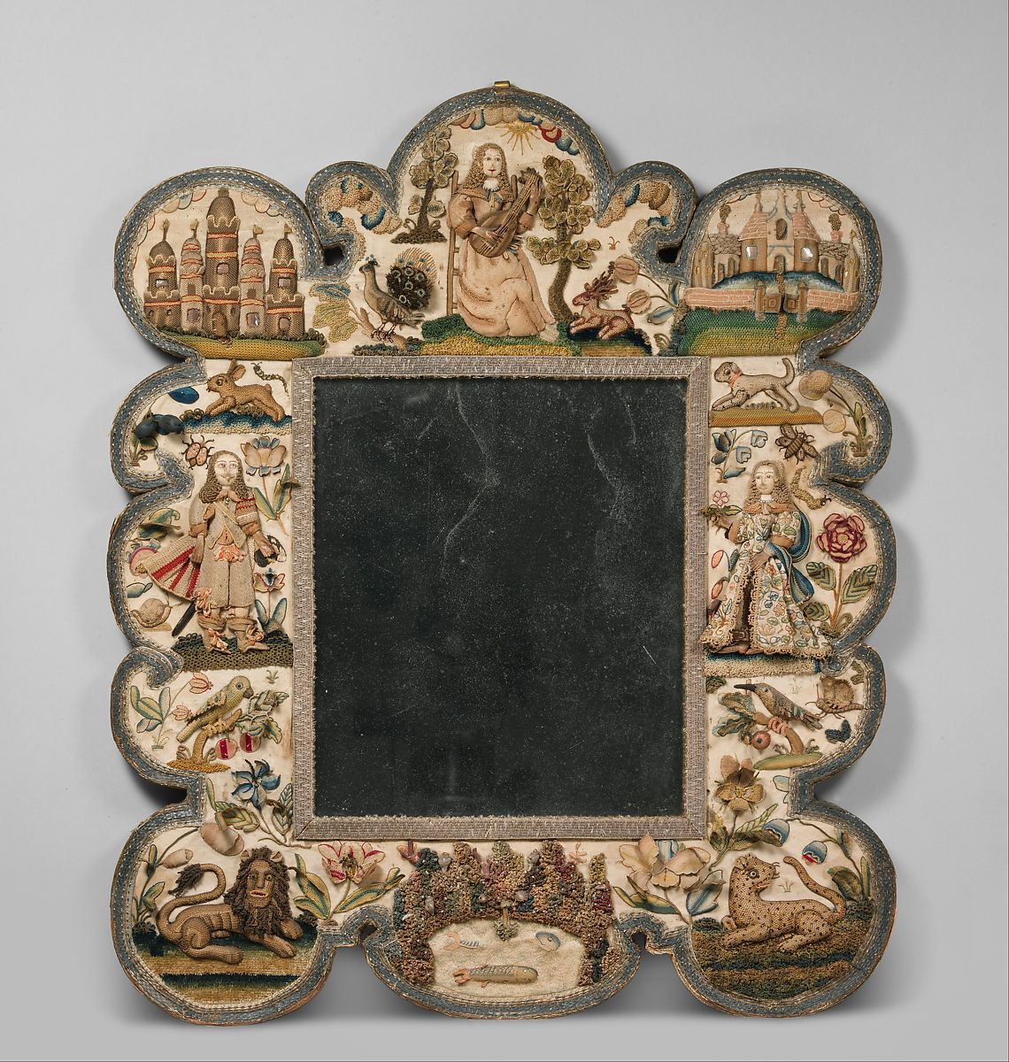 Mirror frame, Satin worked with silk, chenille threads, purl, shells, wood, beads, mica, bird feathers, bone or coral; detached buttonhole variations, long-and-short, satin, couching, and knot stitches; wood frame, mirror glass, plush, British