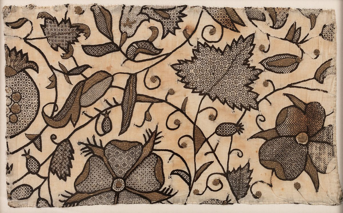 Detail of late 1500s Blackwork embroidery