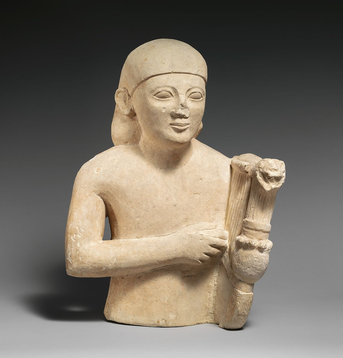 Limestone bust of a lyre-player | Cypriot | Cypro-Archaic II | The Met