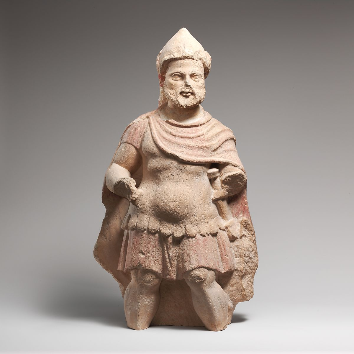 Limestone statue of a bearded warrior | Cypriot | Early Hellenistic | The Met