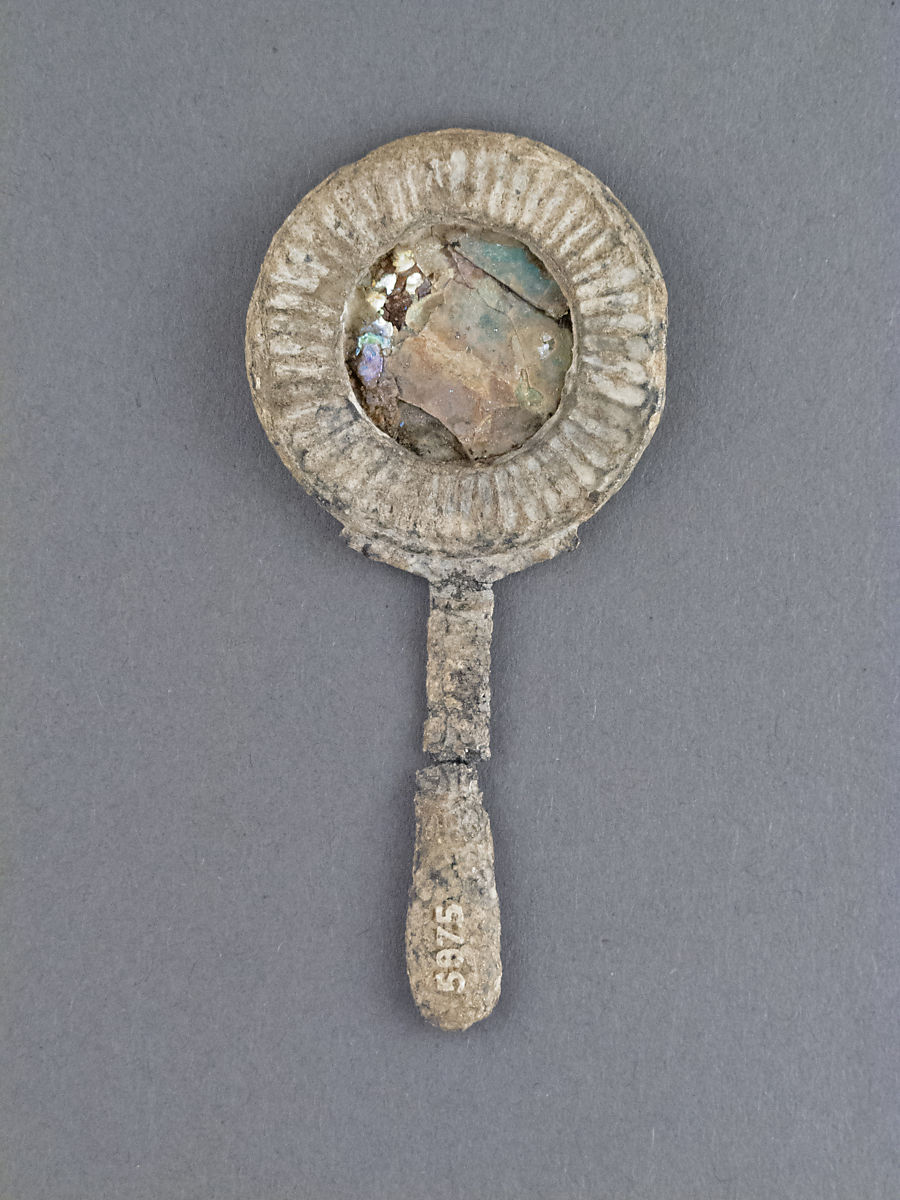 Glass mirror with lead frame, Lead, Glass, Roman
