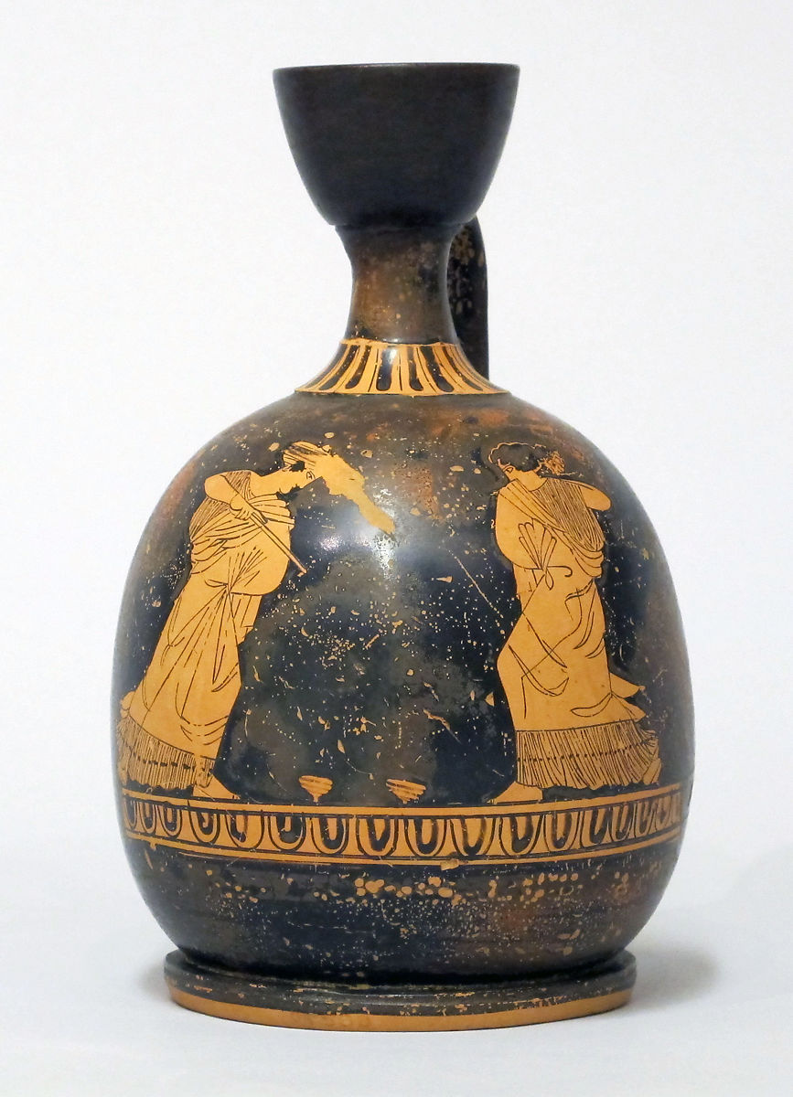 Terracotta squat lekythos (oil flask) | Greek, Attic | Classical | The Met
