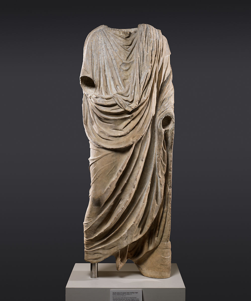 Marble statue of a togatus (man wearing a toga), Marble, Roman