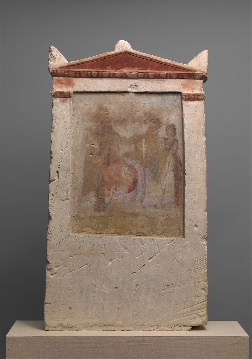 Painted Limestone Funerary Stele With A Woman In Childbirth
