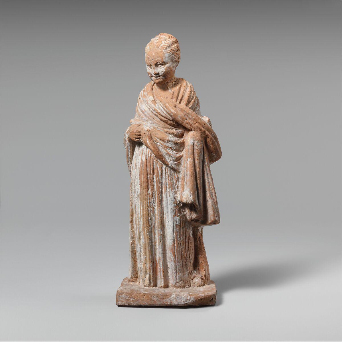 Terracotta Statuette Of A Standing Girl Greek Attic