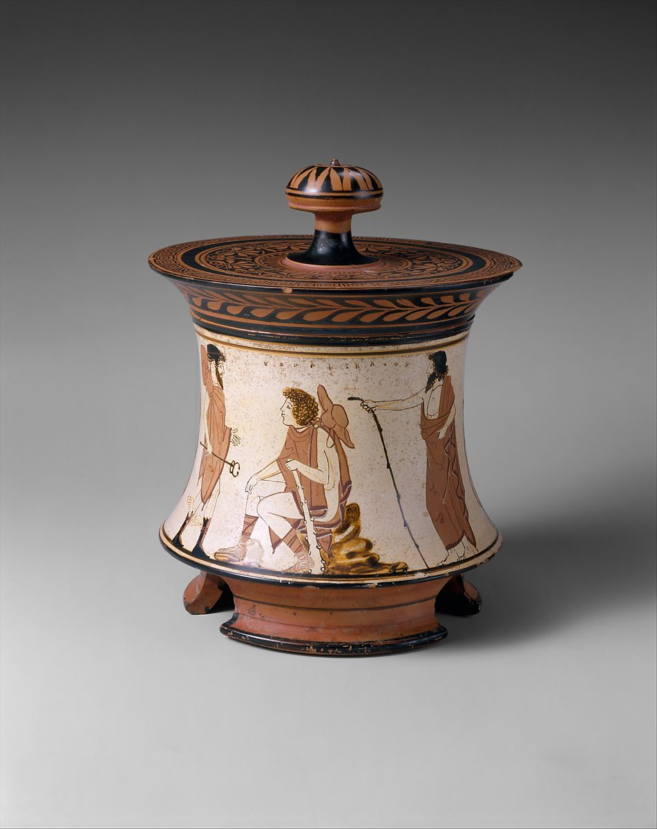 Terracotta pyxis (box), Attributed to the Penthesilea Painter, Terracotta, Greek, Attic