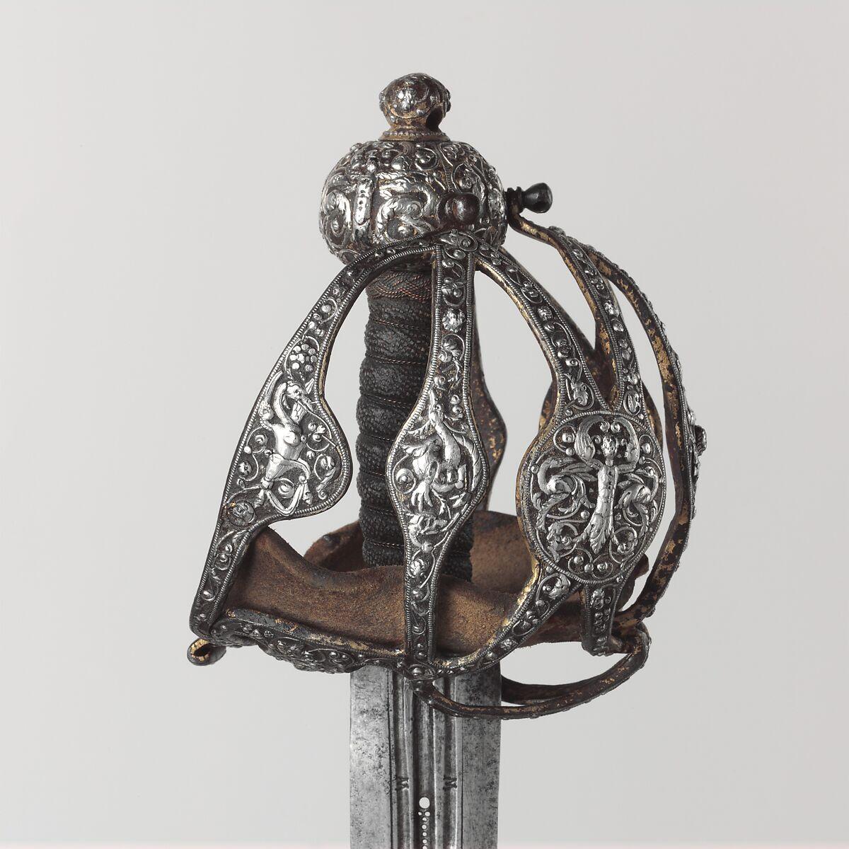 Basket-Hilted Sword, Steel, silver, gold, leather, British