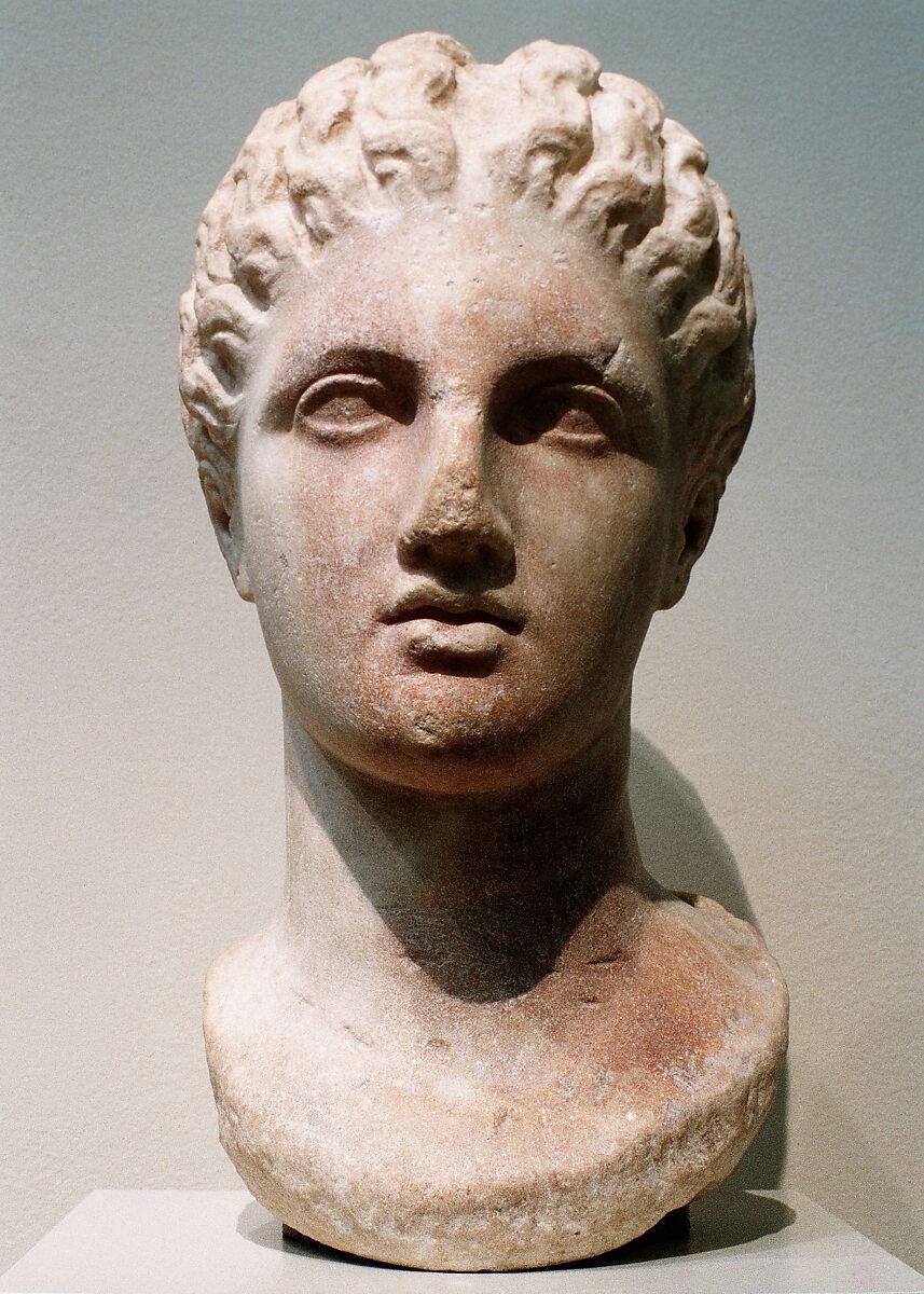 Marble head of a goddess, Marble, Greek