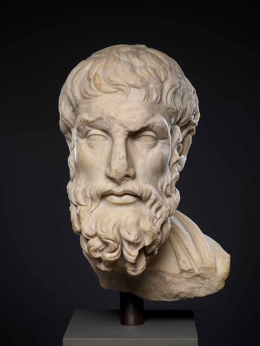 Marble head of Epikouros | Roman | Imperial | The Met