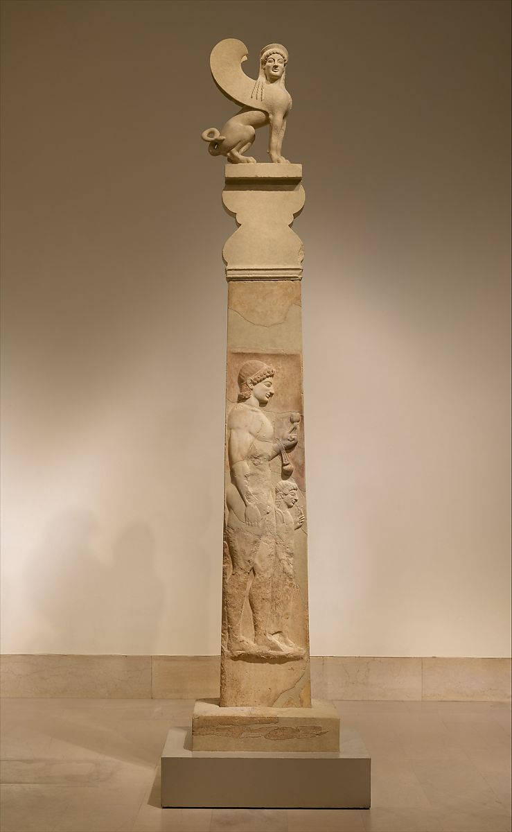 Marble Stele Grave Marker Of A Youth And A Little Girl
