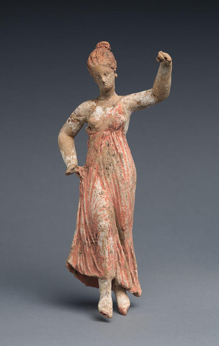 Terracotta statuette of a dancing woman | Greek, South Italian, Tarentine | Hellenistic | The Met
