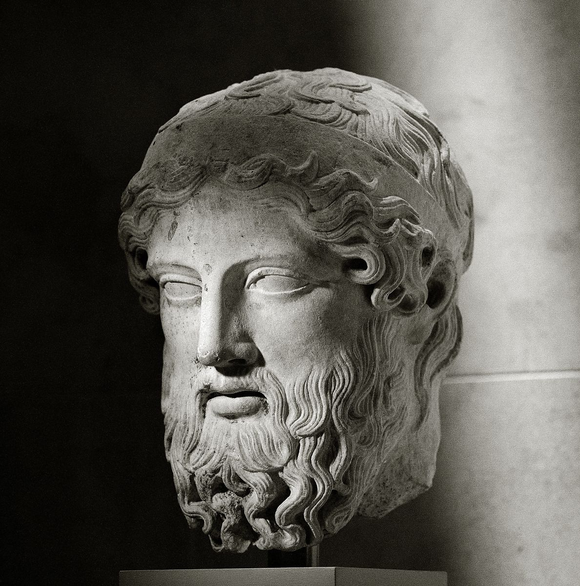 Marble head from a herm | Roman | Imperial | The Met