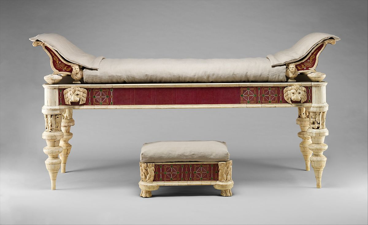 Awe Inspiring Couch And Footstool With Bone Carvings And Glass Inlays Dailytribune Chair Design For Home Dailytribuneorg