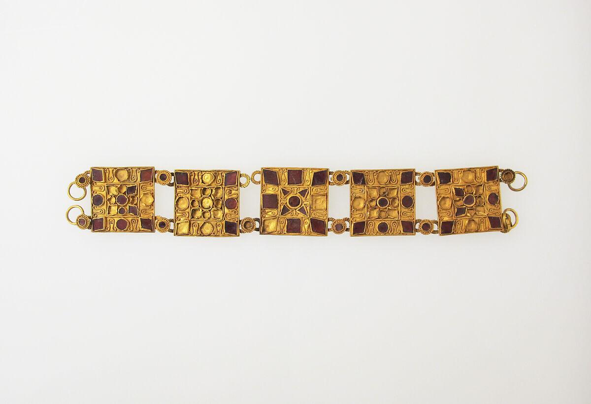 Bracelet with glass inlay, Gold, glass, Roman