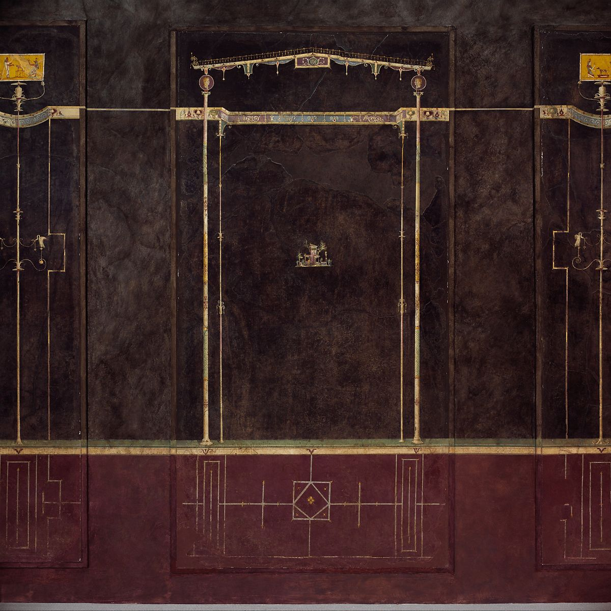 Wall painting on black ground: Aedicula with small landscape, from the imperial villa at Boscotrecase | Roman, Pompeian | Early Imperial, Augustan | The Met